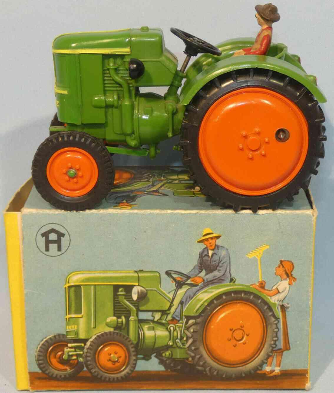 hausser elastolin 2452 plastik spielzeug traktor uhrwerk gruen rot gelb