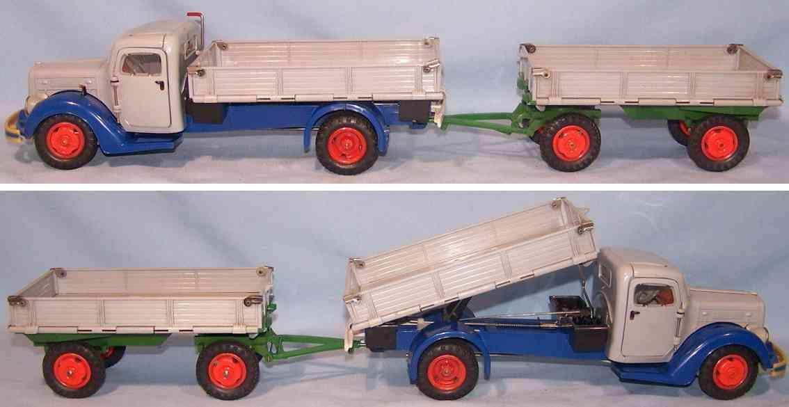 hausser elastolin blech spielzeug lastwagen anhaenger