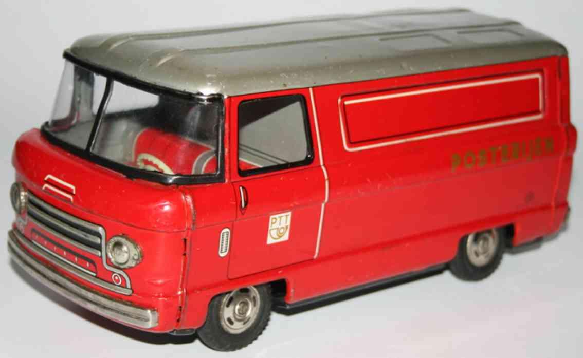 hayashi tin toy postal bus with friction drive posterijen