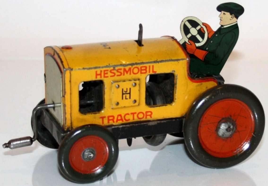 hess 1047 blech spielzeug hessmobil, traktor mit schwungradantrieb über kurbel, lithog