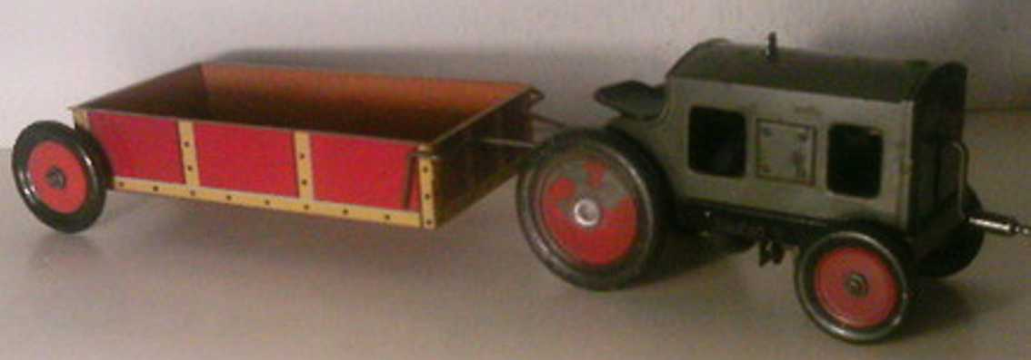 hess blech spielzeug traktor mit anhänger, kurbelantrieb
