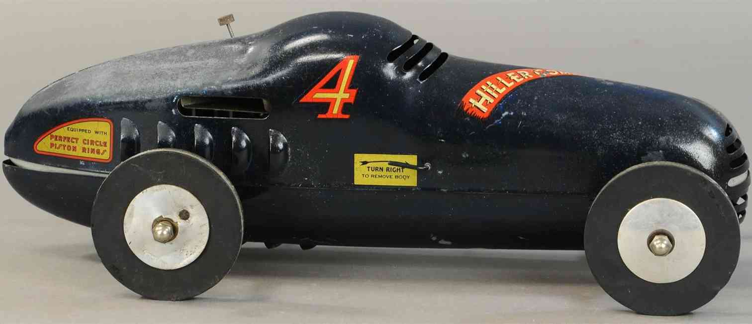 hiller stanley jr 4 tin toy race car comet tether car in dark blue