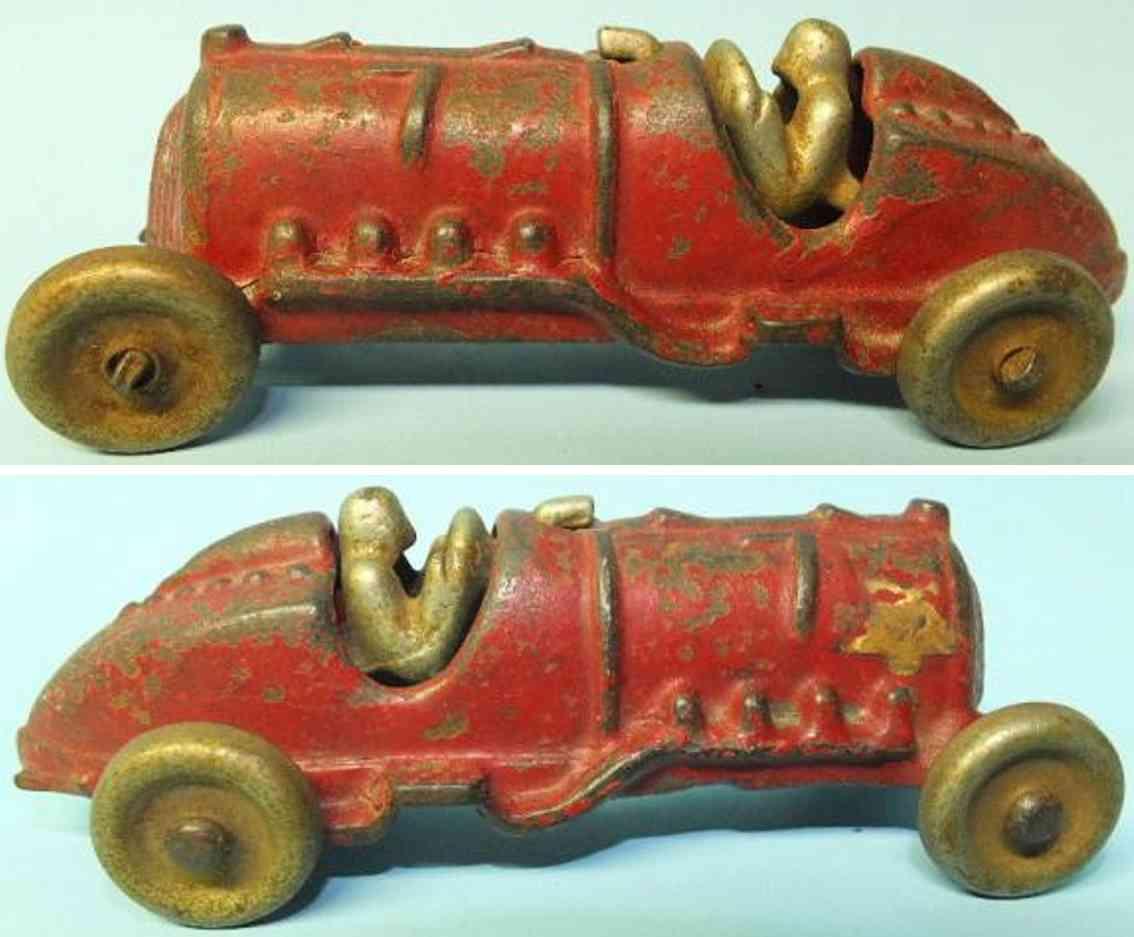 hubley 1790 spielzeug gusseisen rennauto rennwagen rot #7