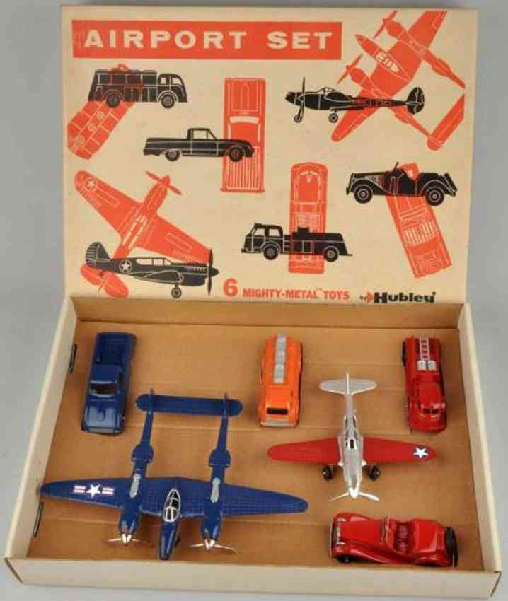 hubley 49 toy kit car airport set made of diecast 2 airplanes cars trucks