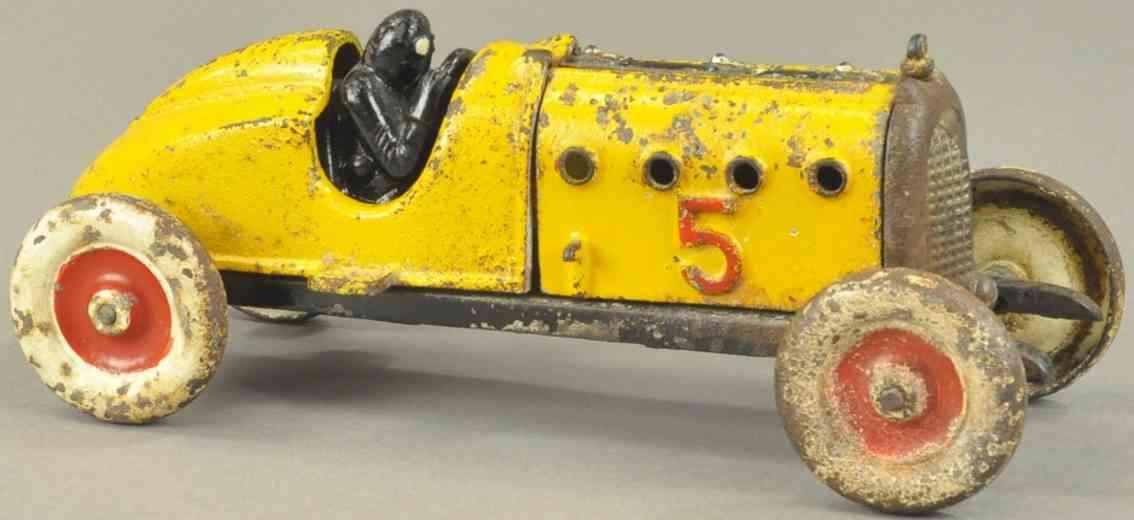 hubley 5 spielzeug gusseisen rennauto rennwagen gelb fahrer