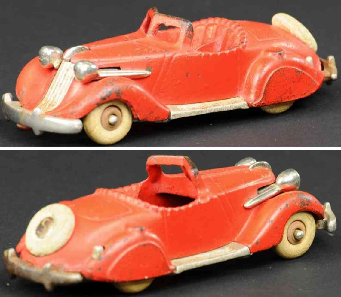 hubley 610 cast iron toy car studebaker roadster red