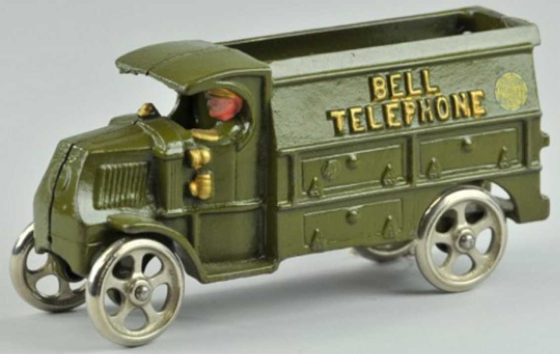 hubley 638 cast iron toy bell telephone truck