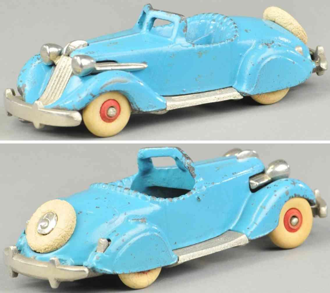 hubley 610 cast iron toy car studebaker roadster light blue