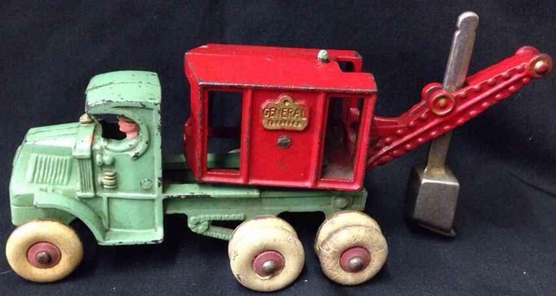 hubley 656 cast iron toy truck general steam shovel rerd green