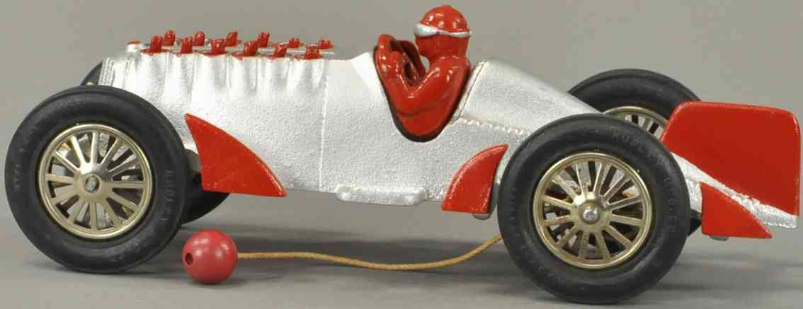 hubley cast iron toy race car golden arrow racer blue