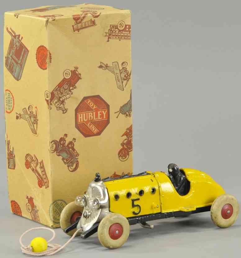 hubley 677 spielzeug gusseisen rennauto rennwagen 5 elektrische lampen gelb