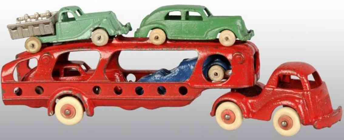 hubley 680 cast iron toy truck cast iron carrier car three cars