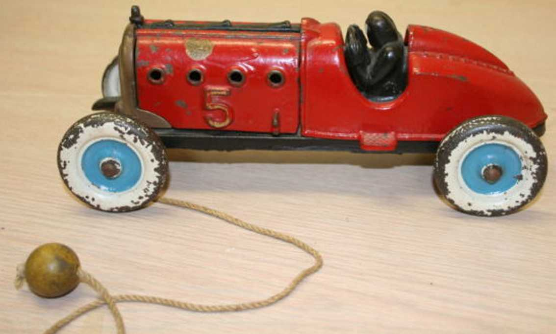 hubley 709 cast iron toy race car red
