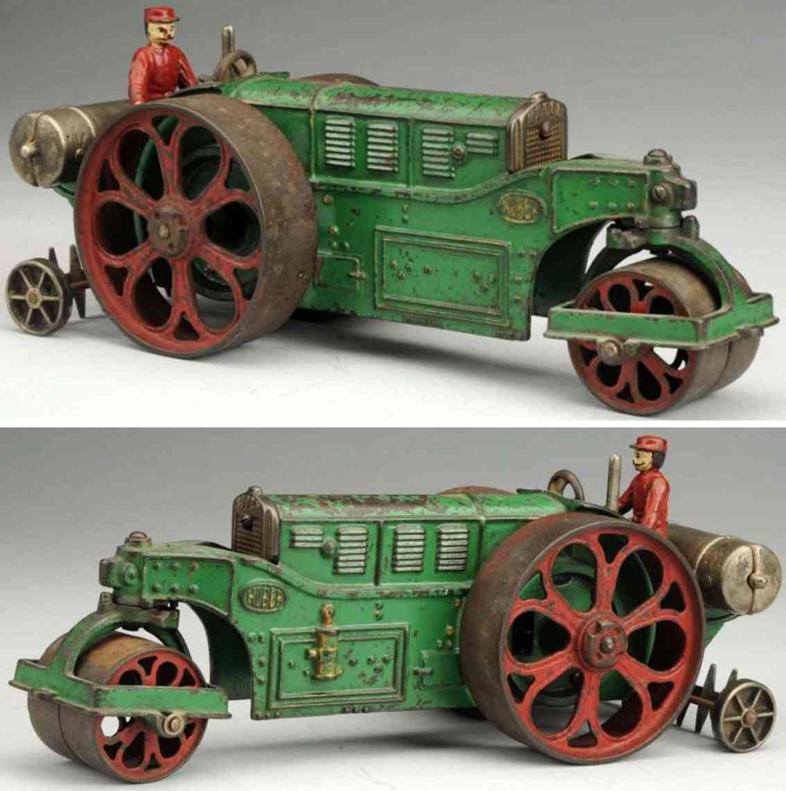 hubley 711 cast iron toy huber road roller green red