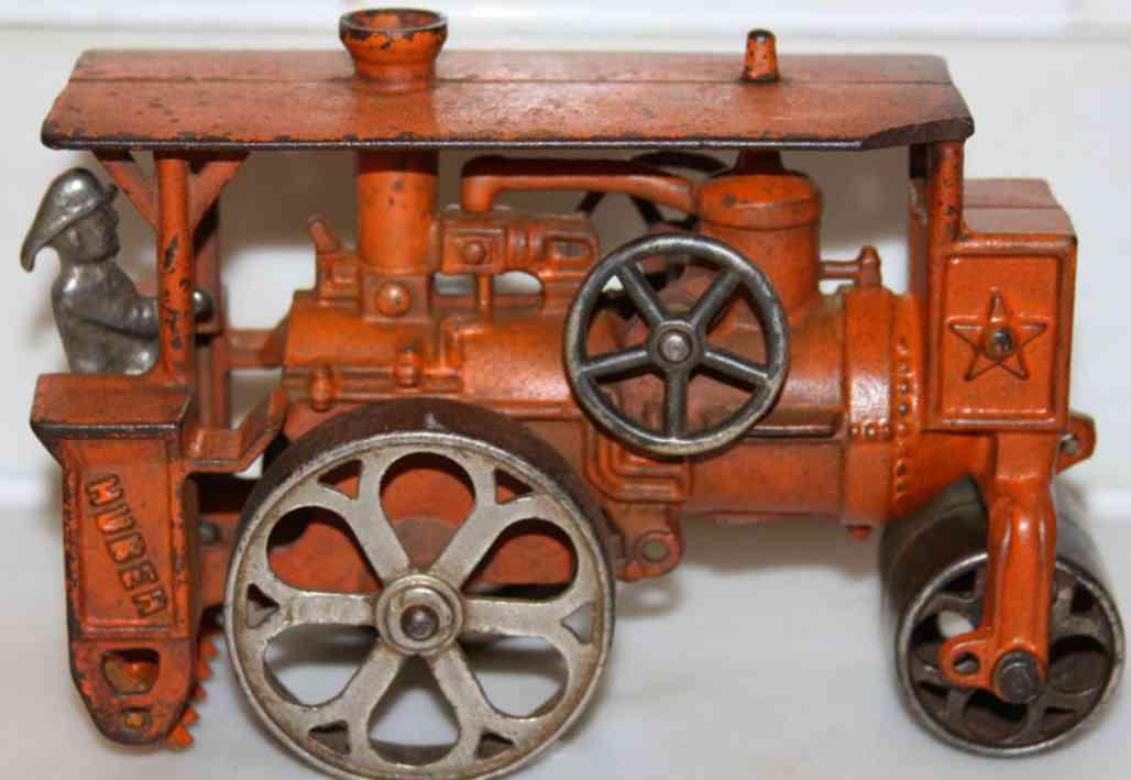 hubley 735 cast iron toy huber road roller in orange
