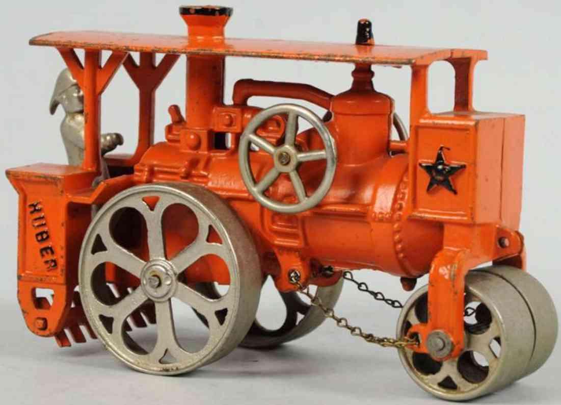 hubley 735 cast iron toy huber road roller orange