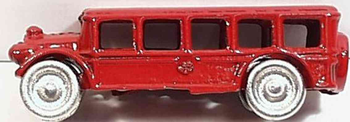 hubley cast iron toy bus red