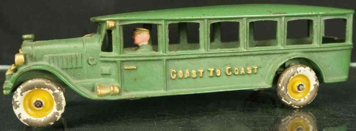 hubley cast iron toy bus green bonnet style coast to coast