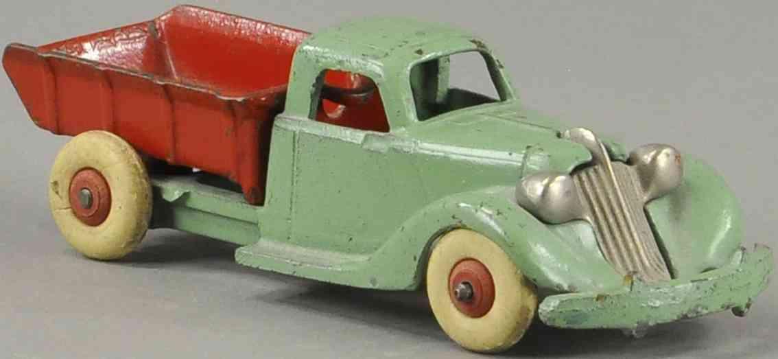 hubley spielzeug gusseisen studebaker kipplastwagen gruen rot