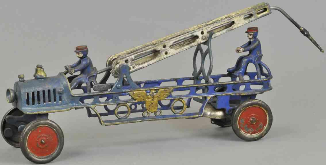 hubley cast iron toy fire hose truck blue dirver fireman