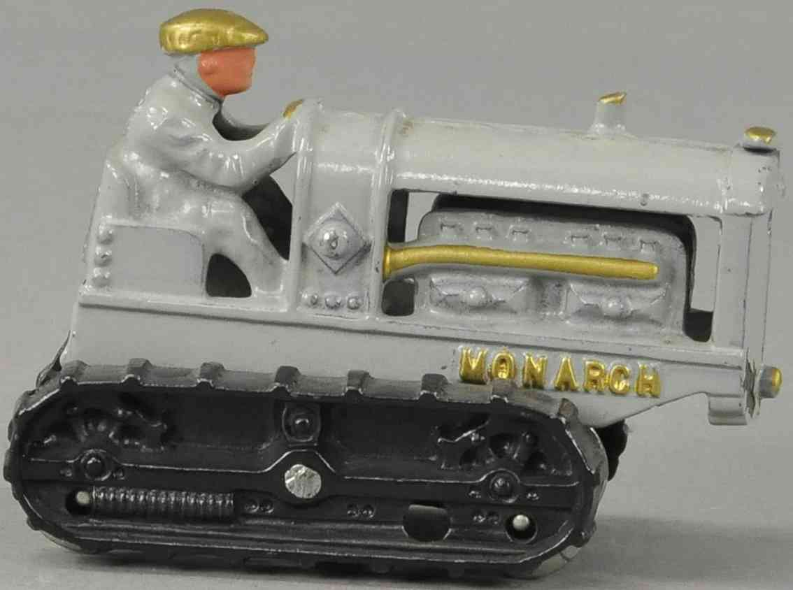 hubley cast iron toy monarch tractor gray gold black