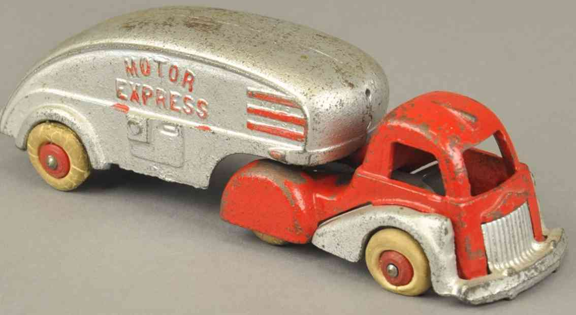 hubley spielzeug gusseisen lastwagen motor express rot silbern