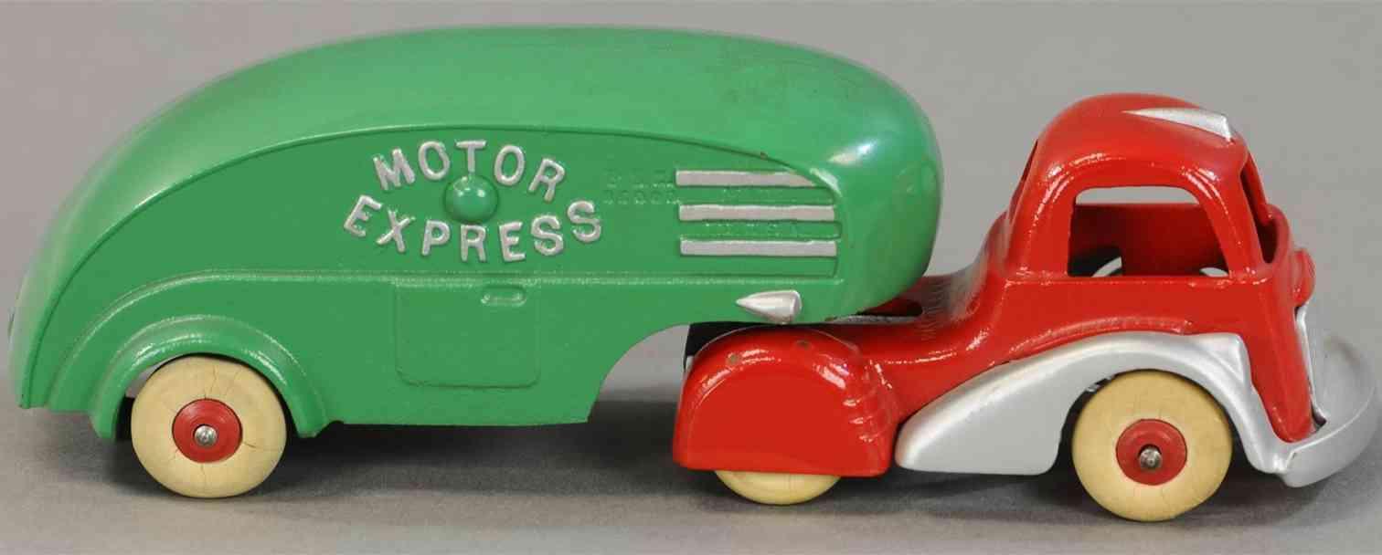 hubley spielzeug gusseisen traktor und anhaenger rot gruen