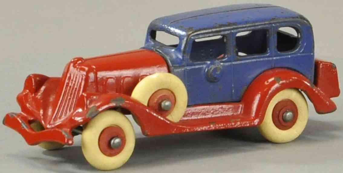 hubley tin toy packard take-apart car red blue