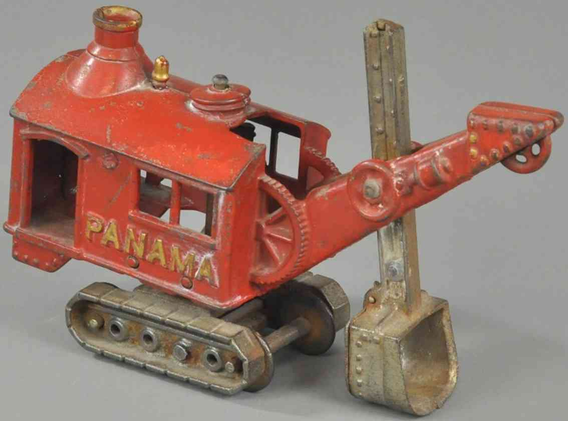 hubley Panama red 9 spielzeug gusseisen panama schaufelbagger aus gusseisen, bemalt in rot, fahrer u