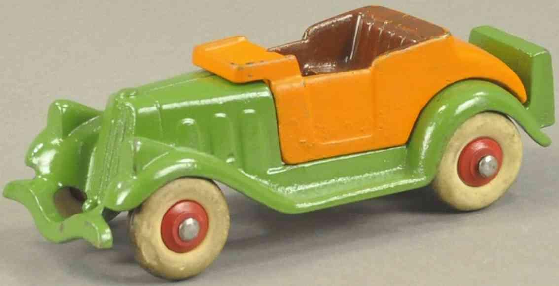 hubley spielzeug gusseisen auto offener rodaster orange gruen