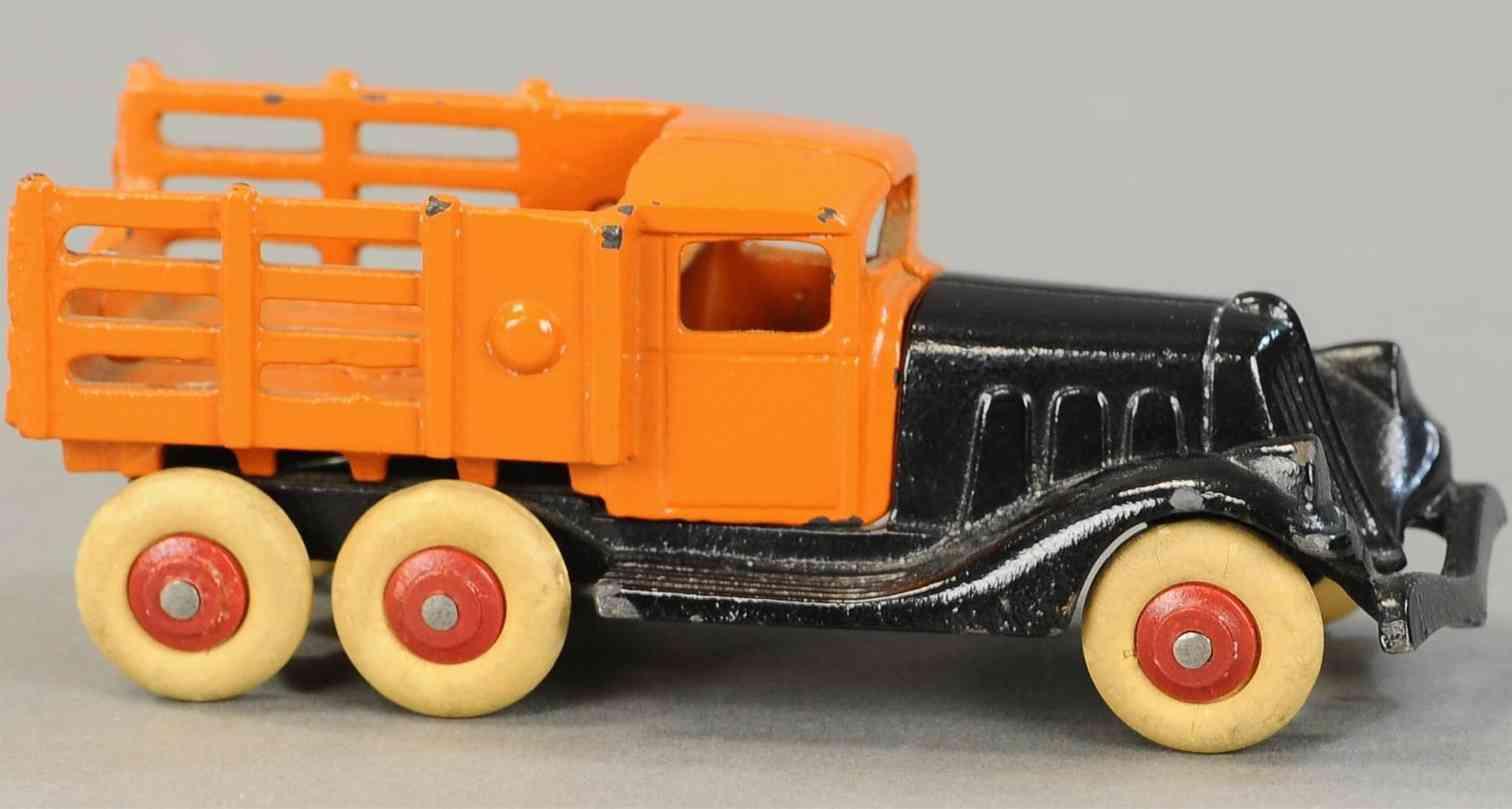 hubley spielzeug gusseisen rungenwagen schwarz orange