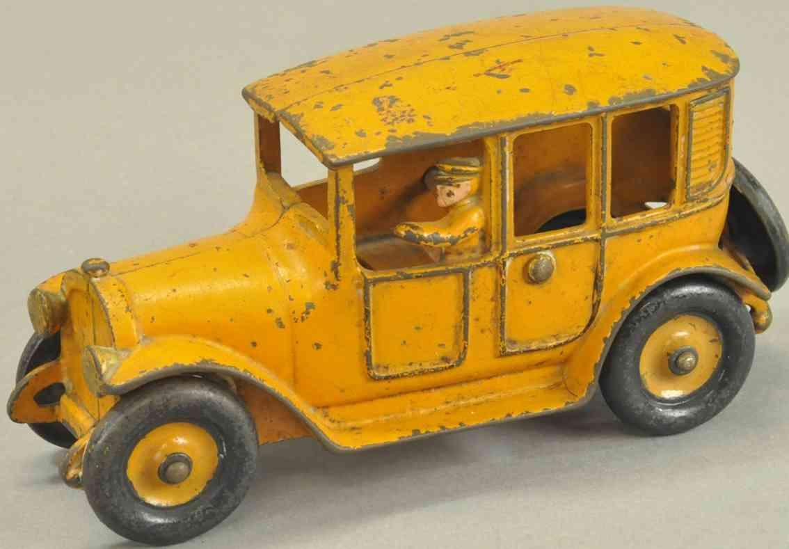 hubley spielzeug gusseisen auto taxi orange schwarz