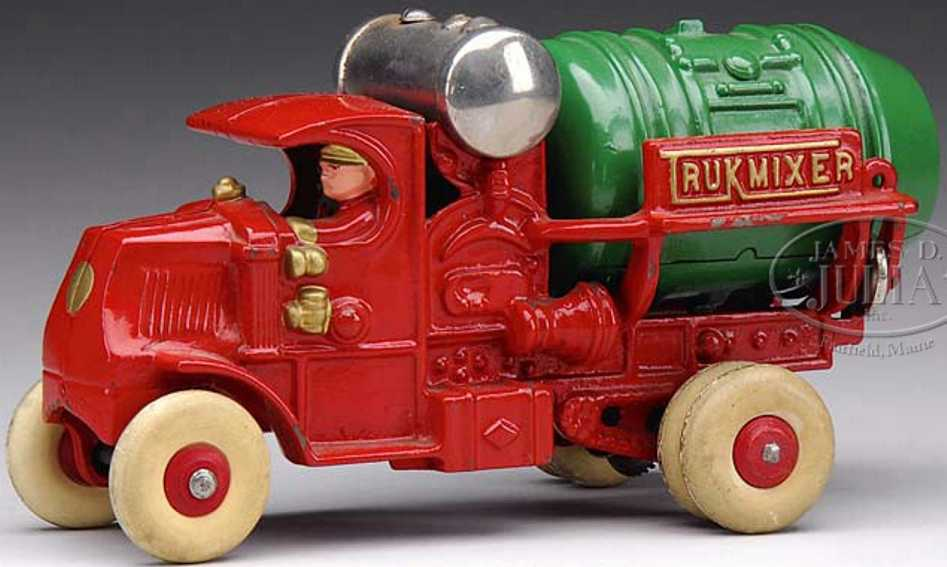 hubley 750 cast iron toy truck mack truckmixer red green trukmixer
