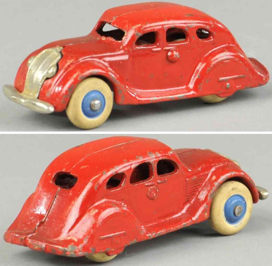 hubley cast iron toy car airflow sedan red