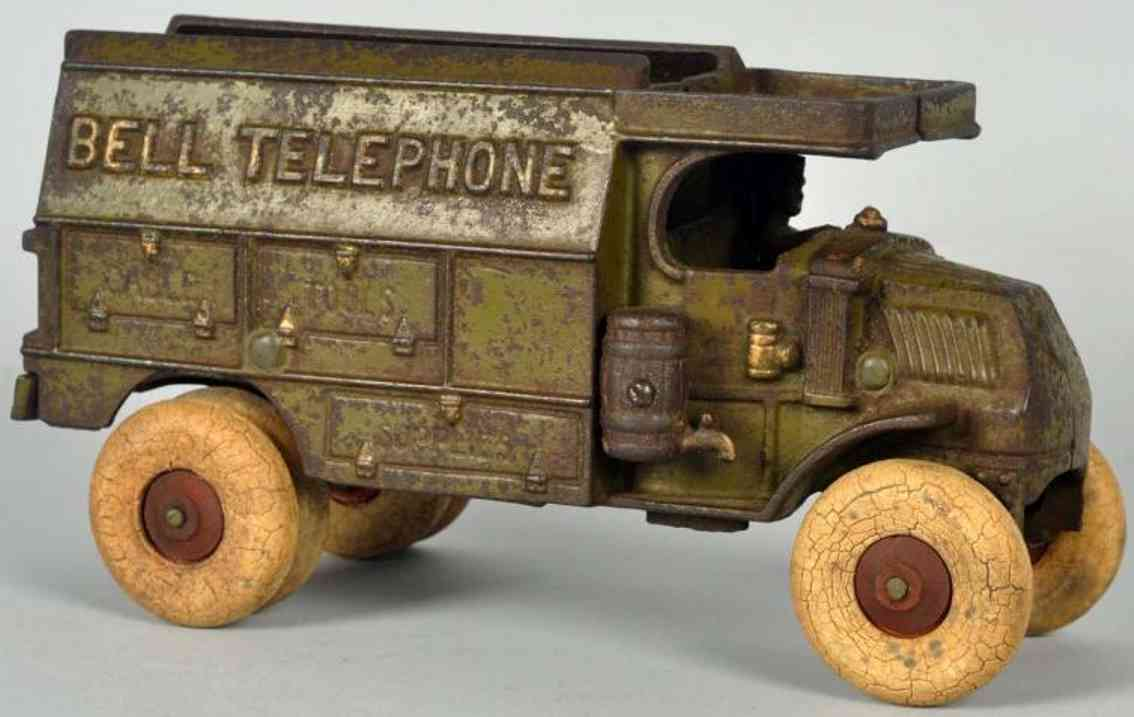 hubley cast iron toy bell telephone truck