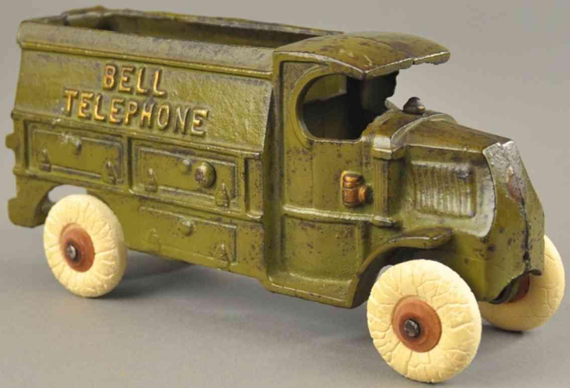 hubley spielzeug gusseisen telefonwagen mack c fahrerhaus olivgruen