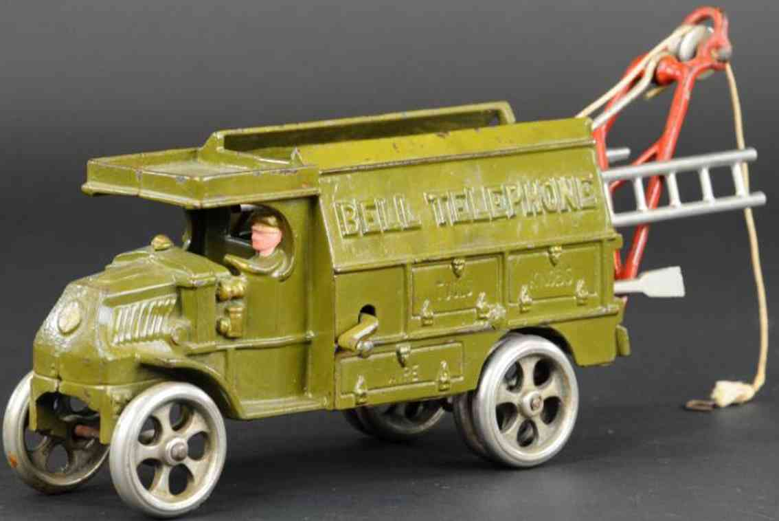 hubley cast iron toy bell telephone truck olive green