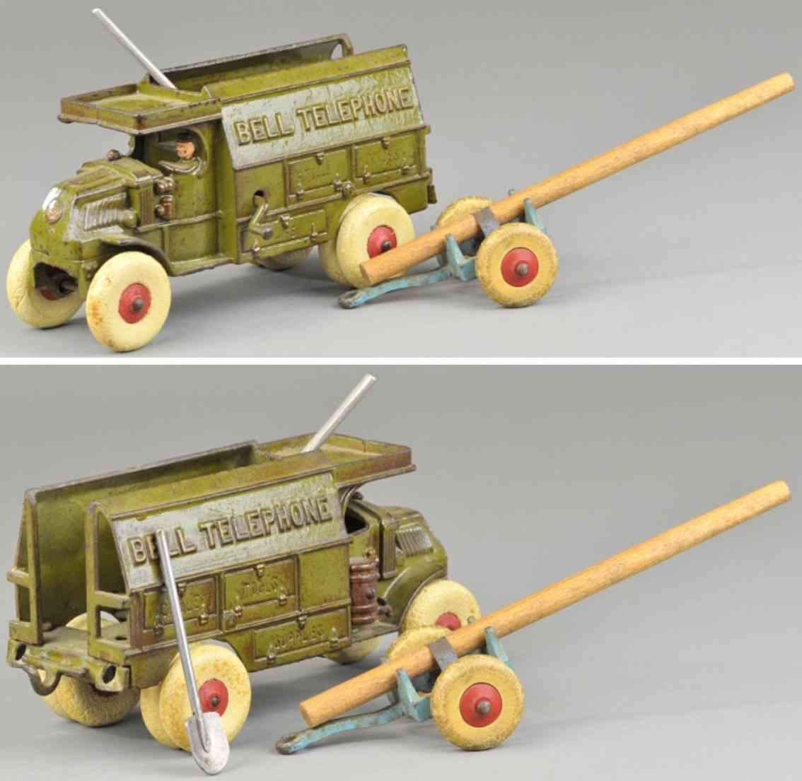 hubley  cast iron toy bell telephone truck olive green pole trailer