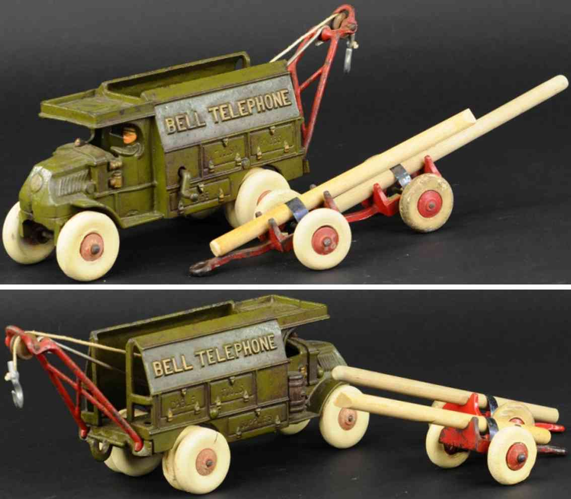 hubley bell cast iron toy mack bell telephone truck olive