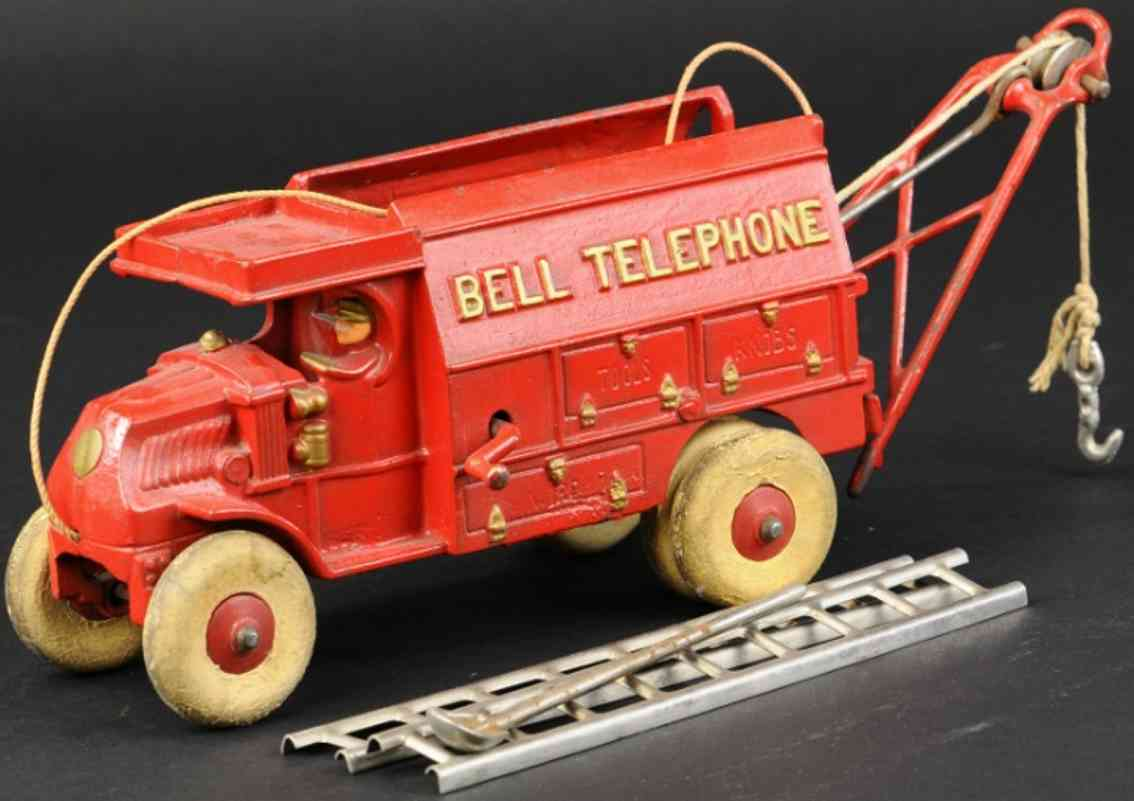 hubley cast iron toy mack bell telephone truck red