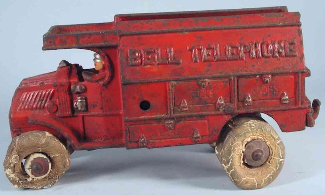 hubley cast iron toy truck bell telephone mack red