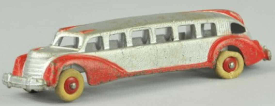 hubleycast iron toy bus silver red
