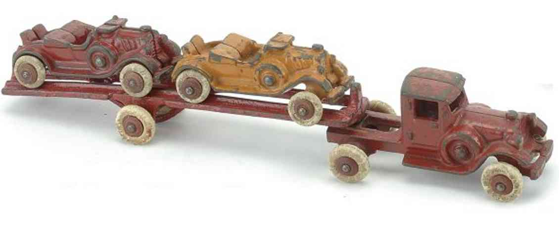 hubley cast iron toy car carrier two roadster