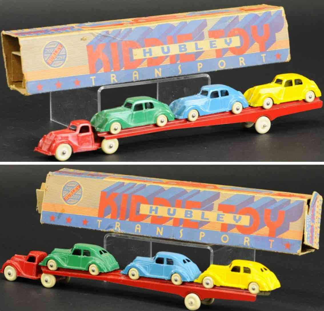 hubley cast iron toy transporter car hauler carrier red three cars