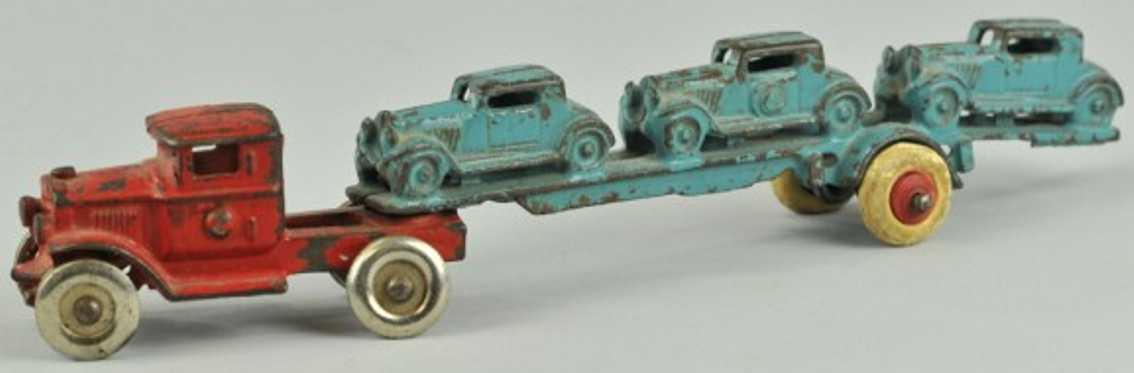 hubley cast iron toy car carrier three blue buicks