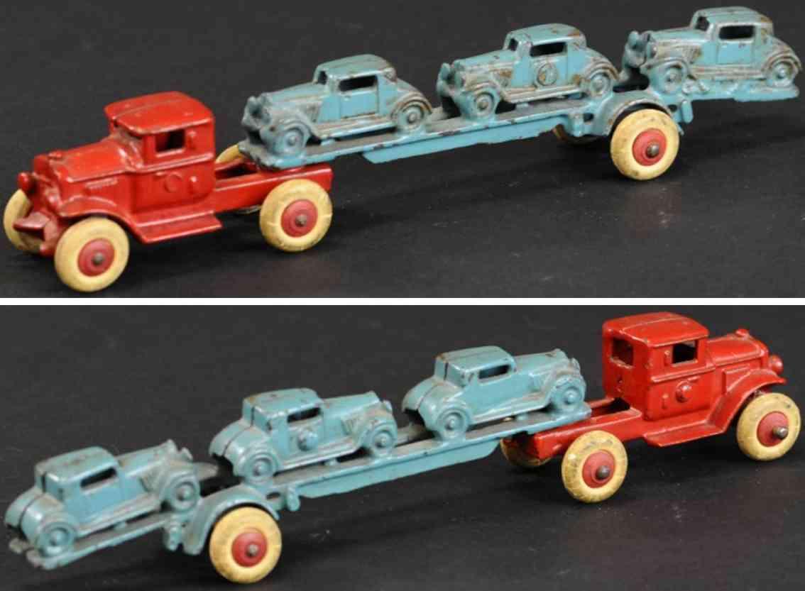 hubley gusseisen autotransportwagen rot drei blaue autos