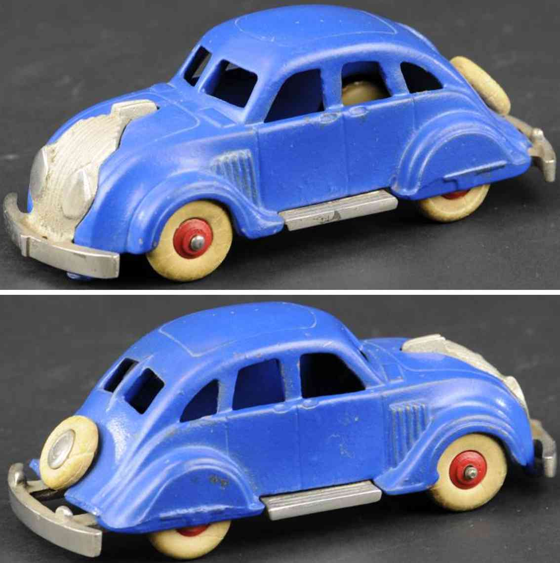 hubley cast iron toy car chrysler airflow blue