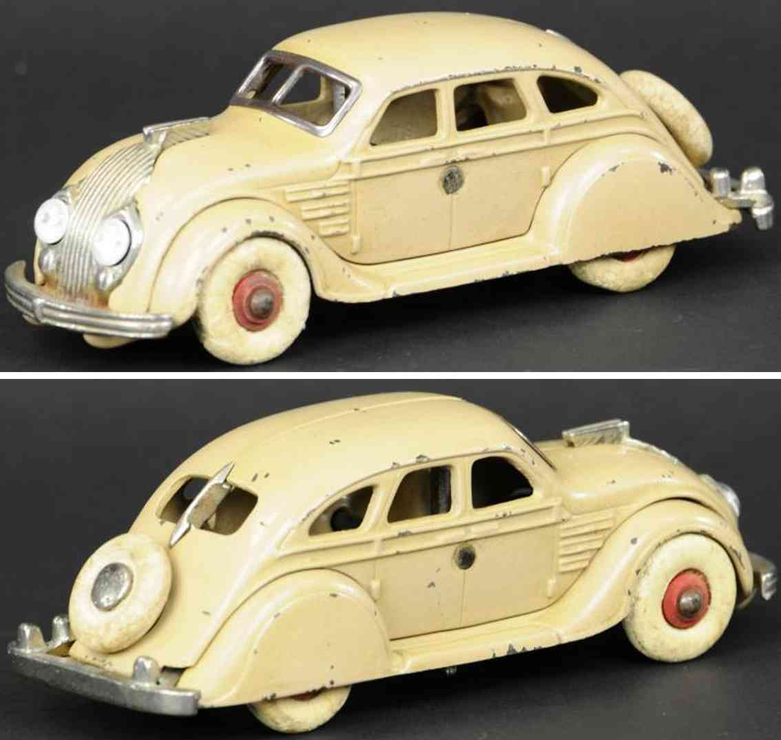 hubley cast iron toy car chrysler airflow tan
