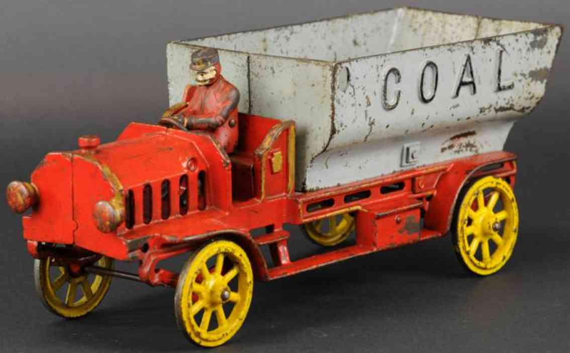 hubley cast iron toy coal truck red grey driver