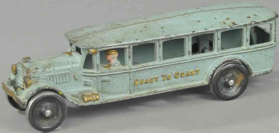 hubley spielzeug gusseisen ueberlandbus blau kueste zu kueste